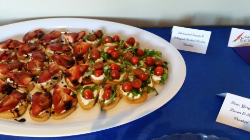 Balsamic Strawberry and Goat Cheese, with Marinated Tomato and whipped Ricotta Crostini
