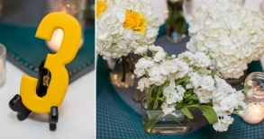 Centerpieces consisting of string art platform, flowers in different sized vases and tealights in recycled jars.