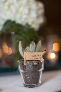 Succulents were ordered online and planted in individual votive holders. Guests took these home as a favor. Tags were made from a craft paper sticker and toothpick.