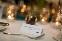 Place cards were printed then stamped with guest's entree choice.
