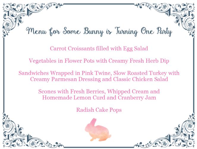 1 year old birthday, pink bunnies, menu, garden theme,