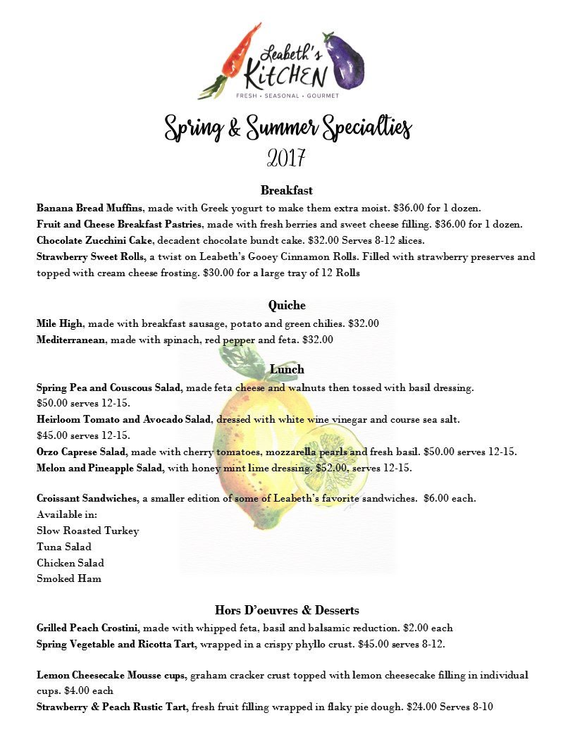 Seasonal Menu – Leabeth\'s Kitchen – Catering and Event Planning