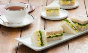 Egg salad and watercress sandwich. afternoon tea.