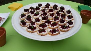 Marinated Beet and Goat Cheese Crostini, a Perfect Summer Hors D'oeuvre.