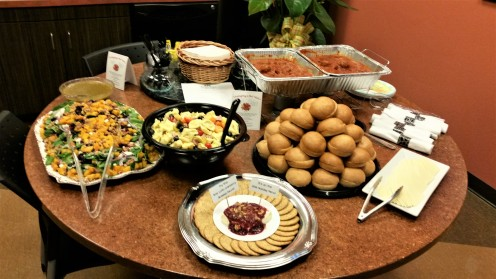Butternut Squash and Bacon Salad, Tortellini Antipasti Salad and Meatball Sliders.