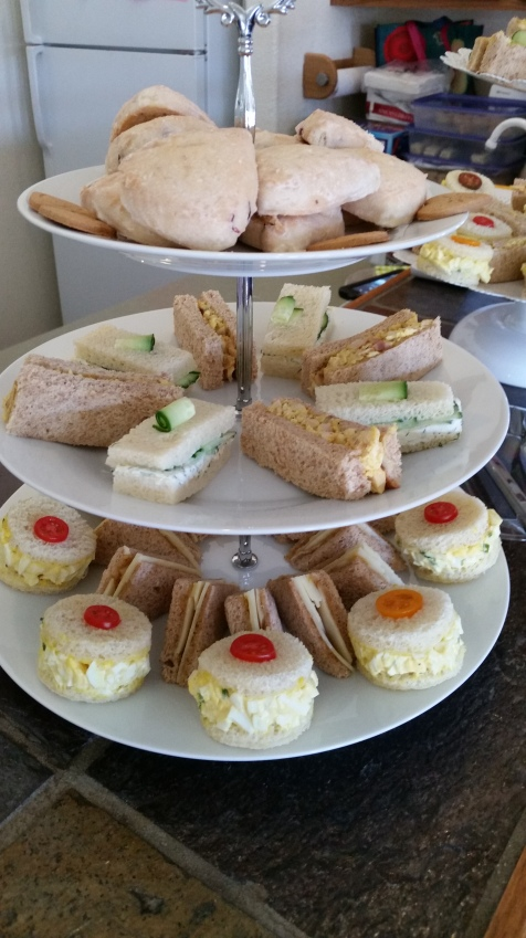 Tea Sandwiches, Cucumber Dill, Curry Chicken Salad, Cheddar and Chutney and Egg Salad