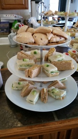 Tea Sandwiches, Cucumber Dill, Curry Chicken Salad, Cheddar and Chutney.