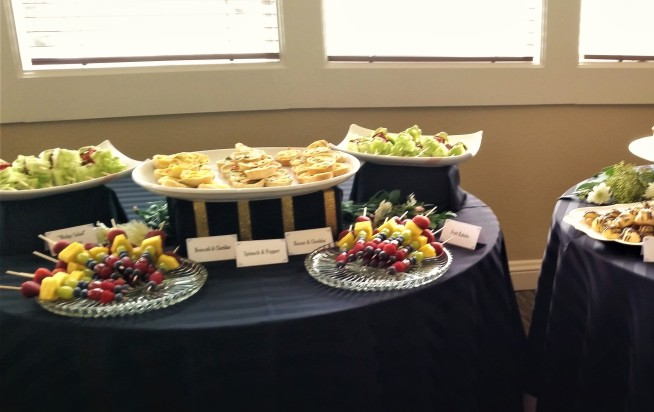 Mini Quiche, Fruit Kabobs, and Wedge Salad Skewers