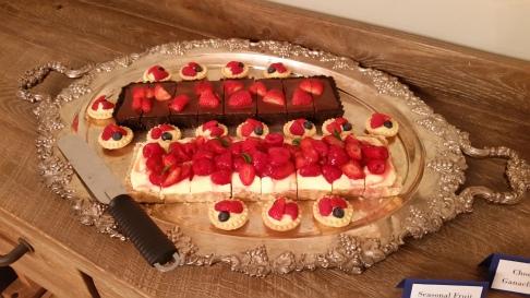 Chocolate, mixed fruit and lemon berry tarts.